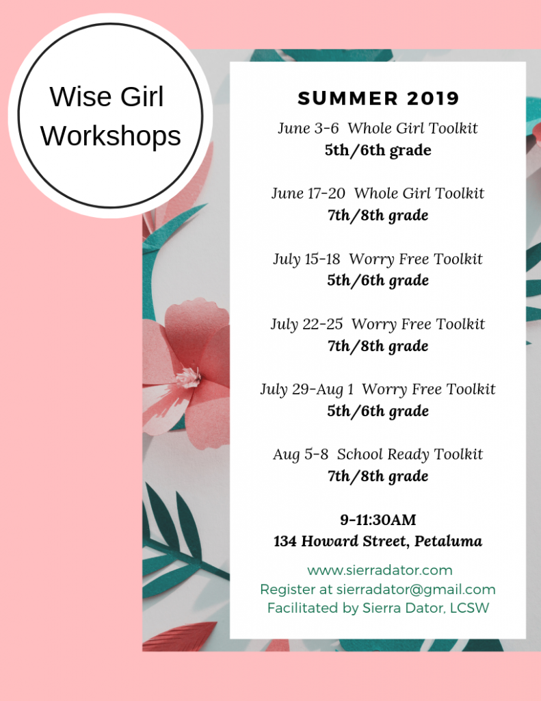 Floral Flier Wise Girl Workshops Summer 2019 Dates and Information